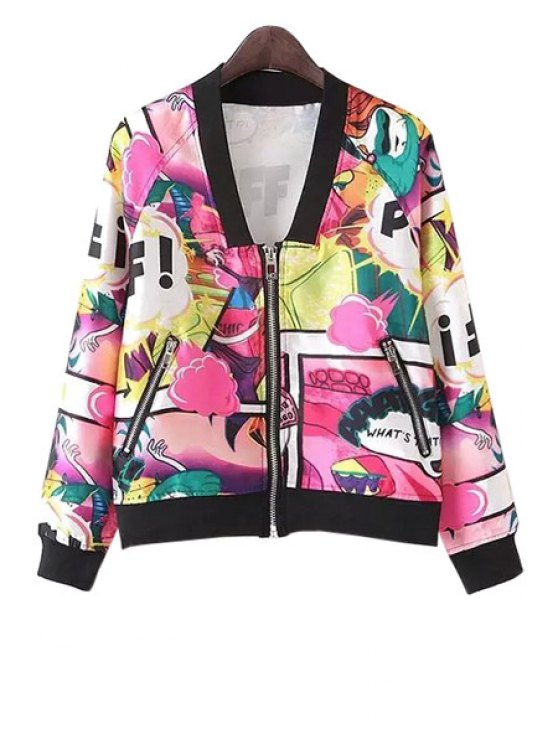 shop Colorful Cartoon Letter Print Long Sleeve Coat - RED S