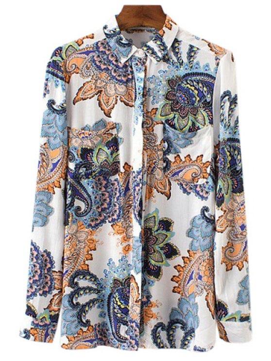 lady Paisley Printed Long Sleeve Shirt - COLORMIX S