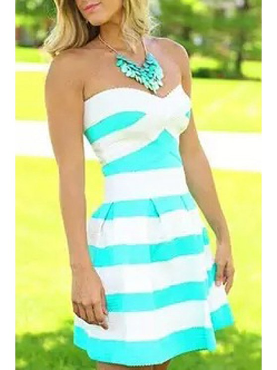 trendy Striped Strapless A Line Dress - AZURE S