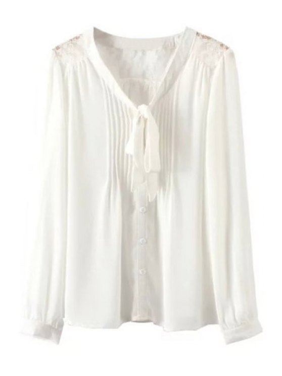 new V Neck Lace Splicing Tie-Up Shirt - WHITE S