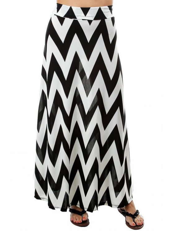 outfit White and Black Zig Zag Long Skirt - WHITE AND BLACK S