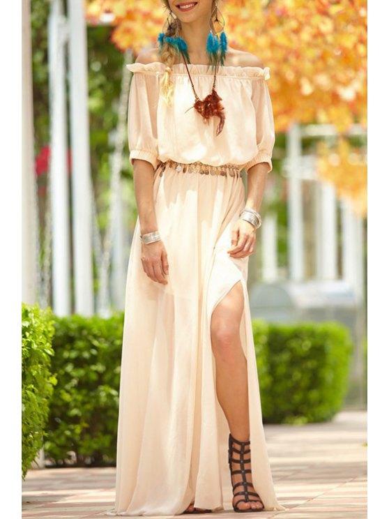 fancy Solid Color Elastic Waist High Slit Maxi Dress - PINK S