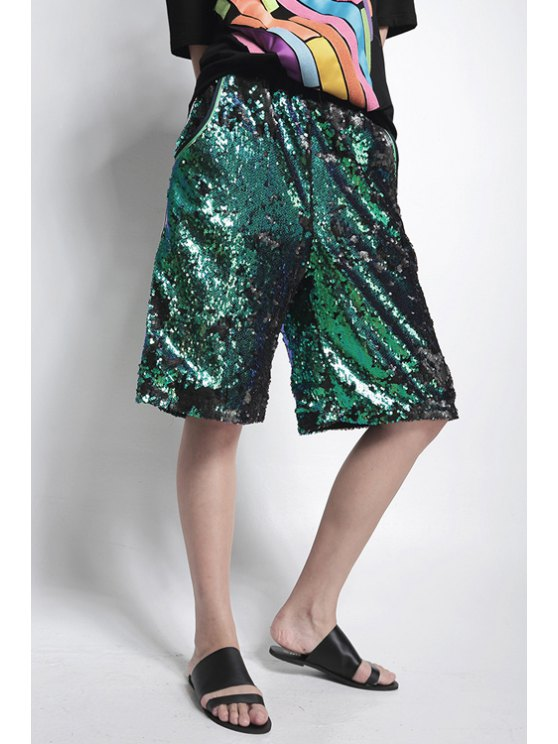 buy Green Sequins Fifth Pants - GREEN ONE SIZE(FIT SIZE XS TO M)
