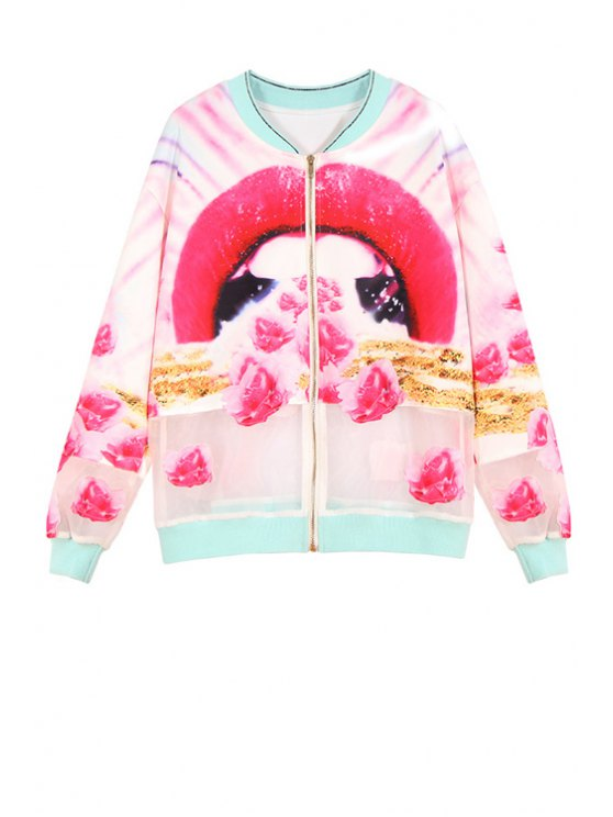 hot Lip Print Stand Neck Long Sleeve Jacket - ROSE S