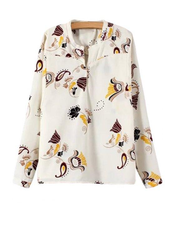sale V Neck Paisley Printed Long Sleeve Shirt - OFF-WHITE S