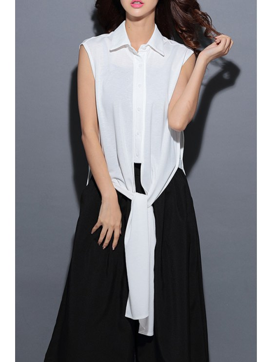 buy Pure Color Shirt Neck Sleeveless Shirt - WHITE ONE SIZE(FIT SIZE XS TO M)
