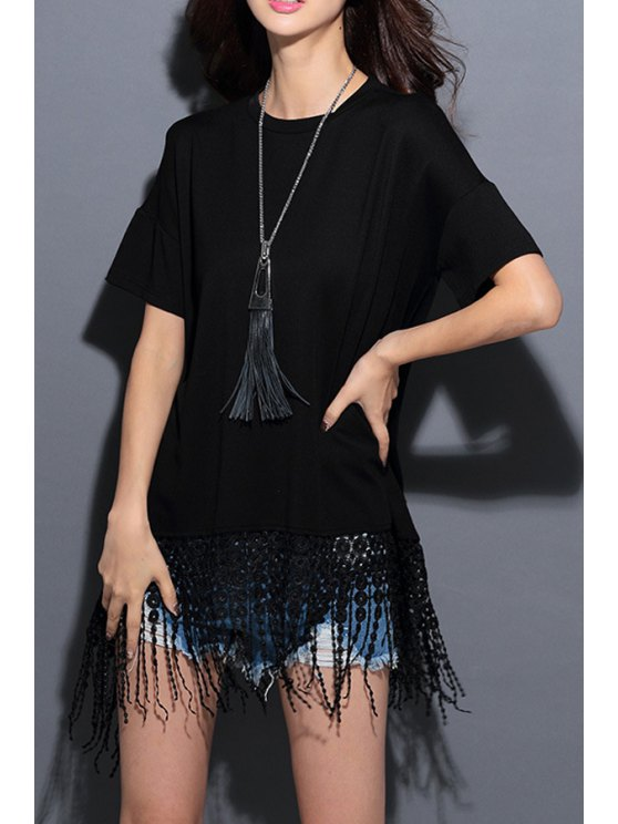 outfits Tassels Spliced Short Sleeves T-Shirt - BLACK ONE SIZE(FIT SIZE XS TO M)