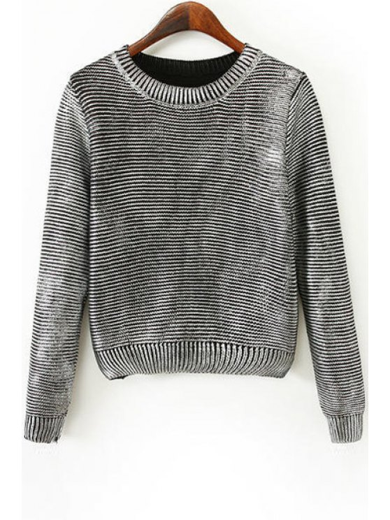 shop Knitted Sparkle and Glitter Sweater - SILVER ONE SIZE(FIT SIZE XS TO M)