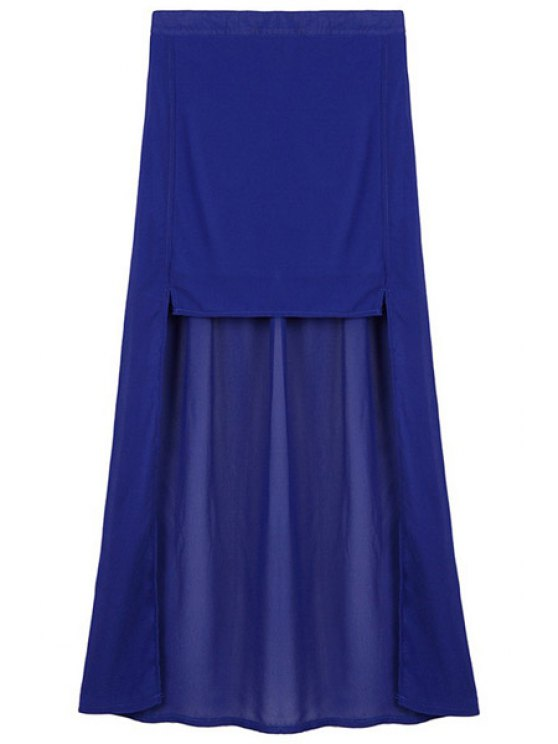 unique High-Low Hem Chiffon Dovetail Skirt - SAPPHIRE BLUE ONE SIZE(FIT SIZE XS TO M)