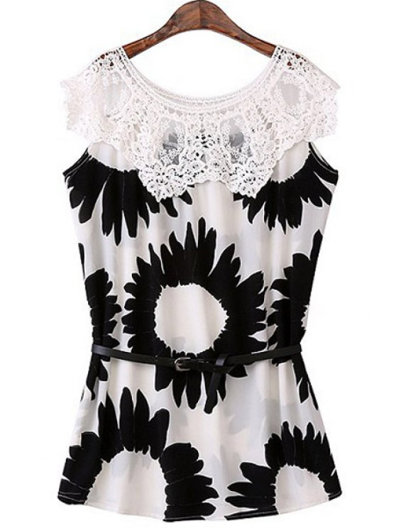 new Lace Splicing Sunflower Print Sleeveless Dress - WHITE AND BLACK S