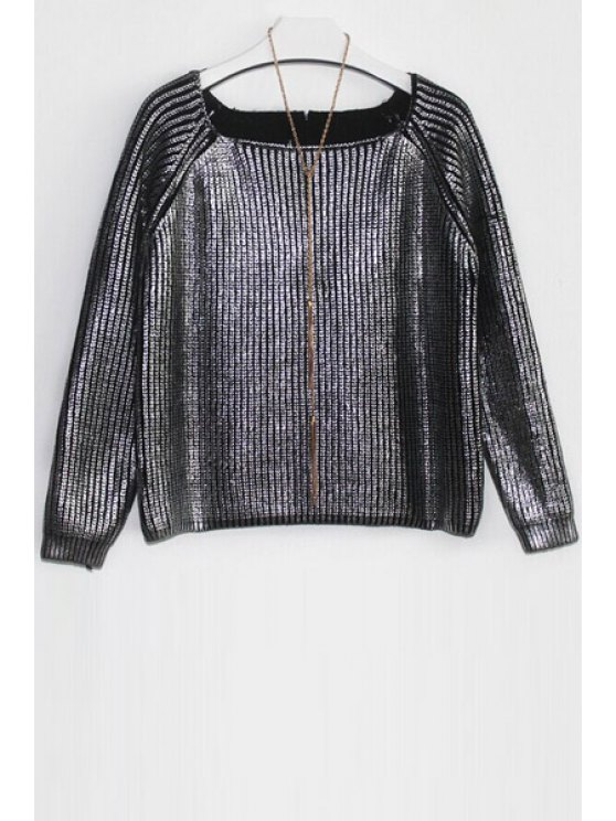 fashion Loose-Fitting Knitted Sparkle and Glitter Sweater - SILVER ONE SIZE(FIT SIZE XS TO M)