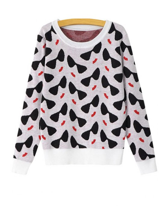 best Glasses Pattern Long Sleeve Sweater - BLACK AND WHITE AND RED S