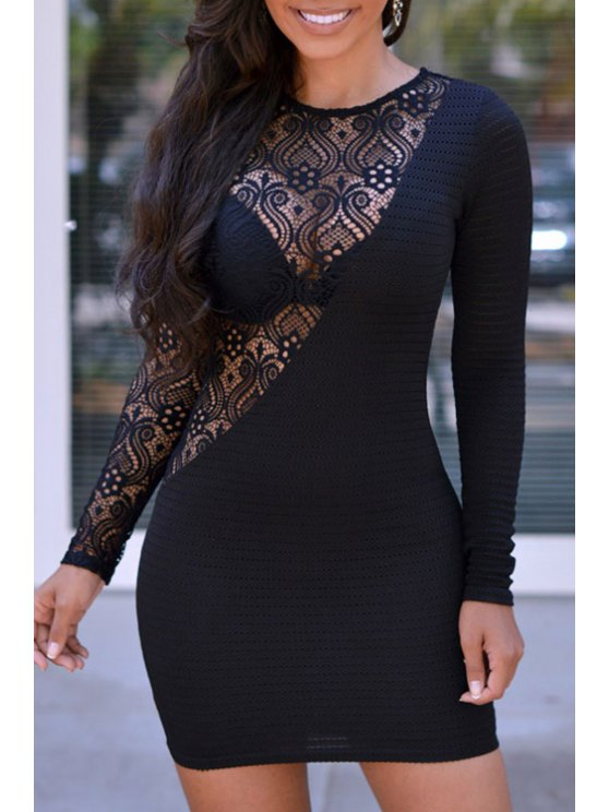 womens Lace Spliced Jewel Neck Long Sleeve Dress - BLACK ONE SIZE(FIT SIZE XS TO M)