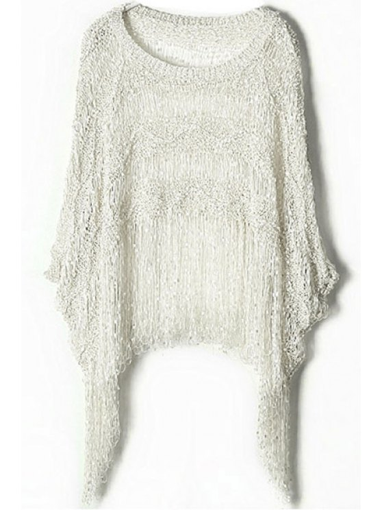 affordable Knitted Tassels Spliced Hollow Out Sweater - WHITE ONE SIZE(FIT SIZE XS TO M)