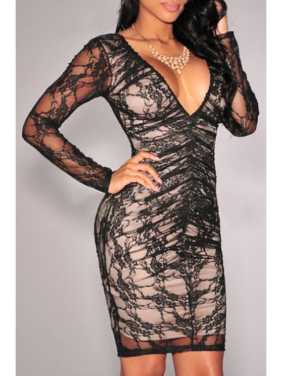 lady Lace Plunging Neck Long Sleeve Dress - BLACK ONE SIZE(FIT SIZE XS TO M)