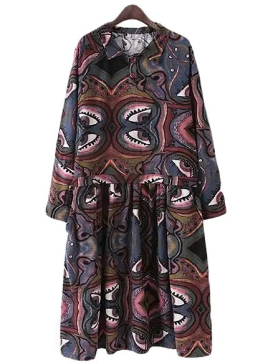chic Turn-Down Collar Eyes Pattern Printed Dress - COLORMIX S