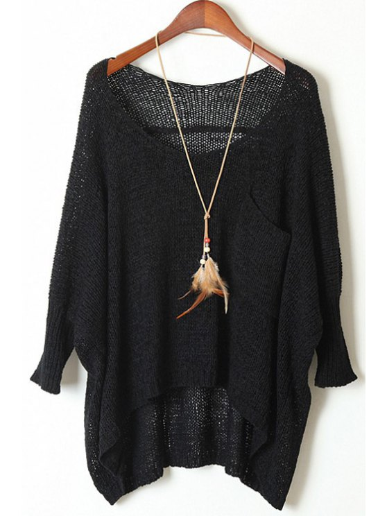 Open Knit Scoop Neck Oversized Sweater - BLACK ONE SIZE(FIT SIZE XS TO M) Mobile
