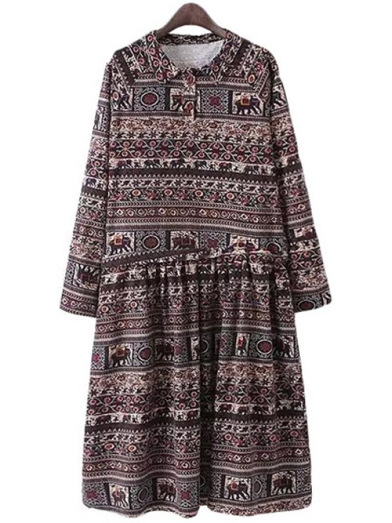 buy Turn-Down Collar Elephant Pattern Printed Dress - COLORMIX S