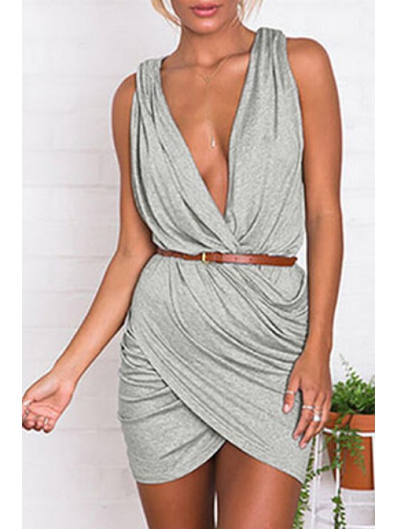 hot Gray Plunging Neck Sleeveless Dress - GRAY ONE SIZE(FIT SIZE XS TO M)