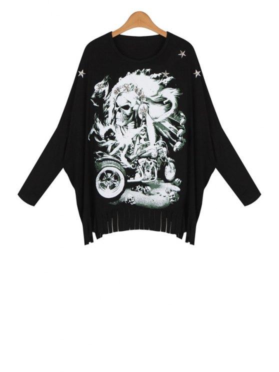 fancy Skull Print Tassels Spliced Loose Blouse - BLACK ONE SIZE(FIT SIZE XS TO M)