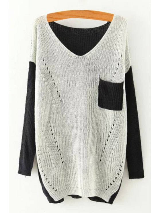online Color Block V Neck Long Sleeve Sweater - WHITE ONE SIZE(FIT SIZE XS TO M)
