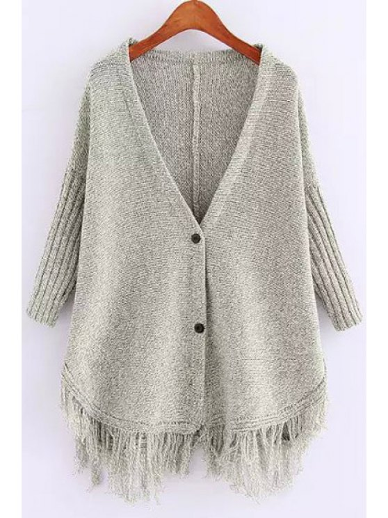 trendy Deep V Neck Fringe Splicing Solid Color Cardigan - GRAY ONE SIZE(FIT SIZE XS TO M)