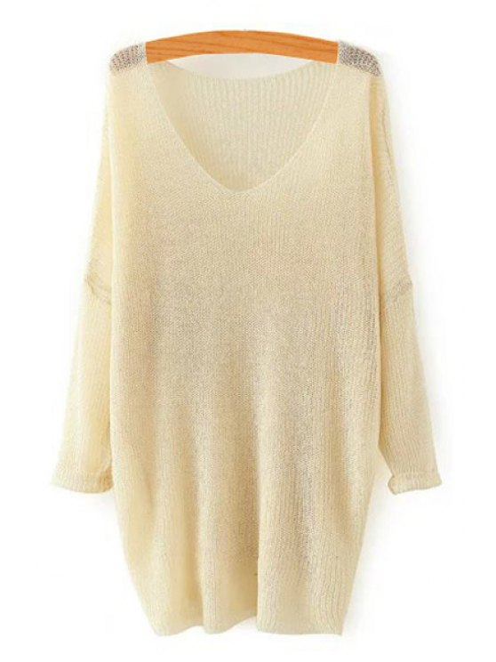 shops Pure Color V Neck Long Sleeve Sweater - KHAKI ONE SIZE(FIT SIZE XS TO M)