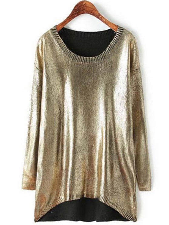 trendy Loose-Fitting Sparkle and Glitter Sweater - GOLDEN ONE SIZE(FIT SIZE XS TO M)