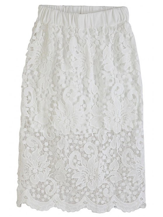 outfit Packet Buttocks Openwork Lace Hook Midi Skirt - WHITE ONE SIZE(FIT SIZE XS TO M)