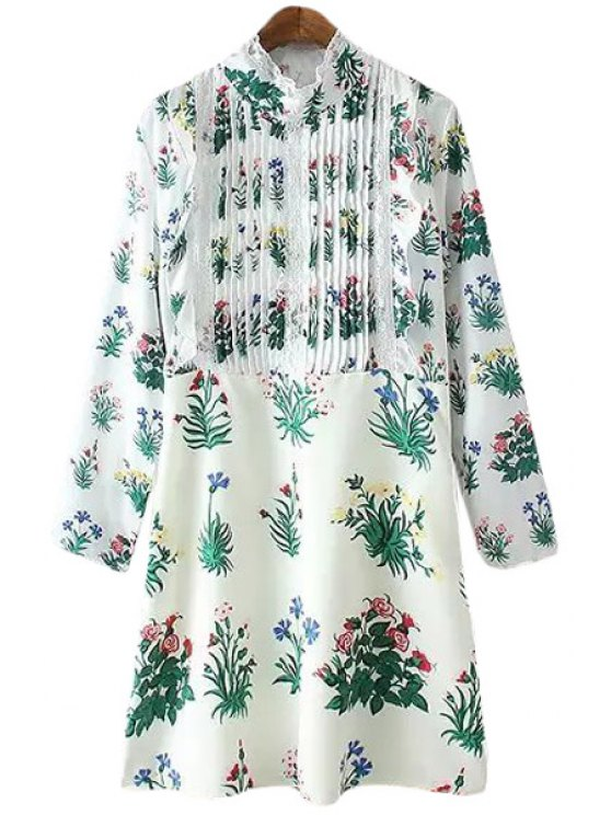 ladies Stand-Up Collar Ruffle Floral Print Dress - WHITE M