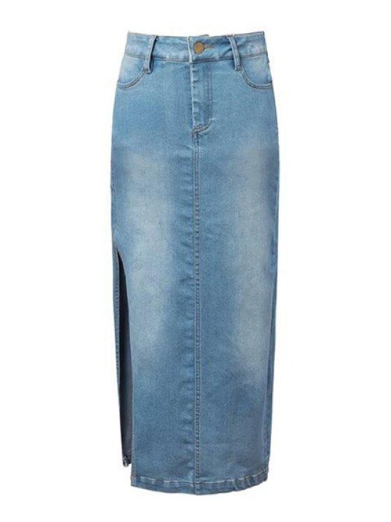 online Denim Blue High Waisted Skirt - LIGHT BLUE S