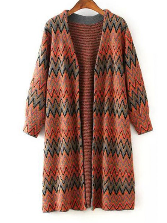 latest Zig Zag Pattern Long Sleeve Cardigan - RED ONE SIZE(FIT SIZE XS TO M)