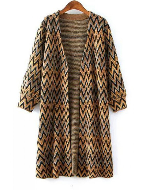 chic Zig Zag Pattern Long Sleeve Cardigan - YELLOW ONE SIZE(FIT SIZE XS TO M)