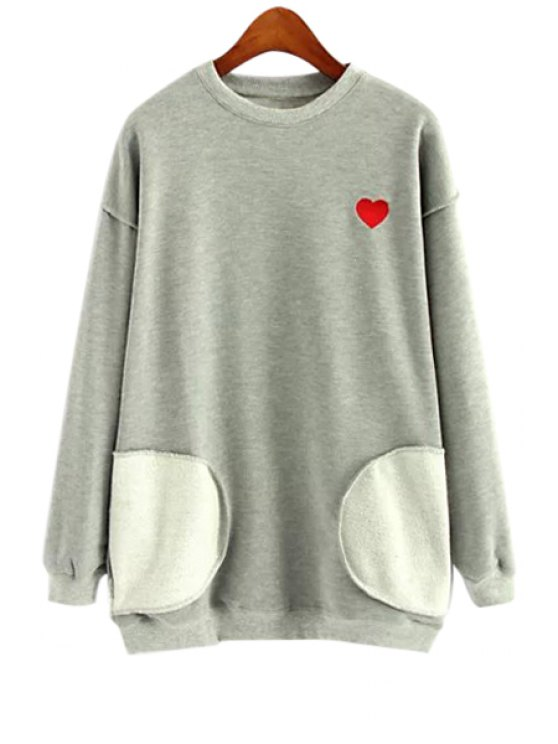 lady Heart Embroidery Long Sleeve Sweatshirt - GRAY ONE SIZE(FIT SIZE XS TO M)