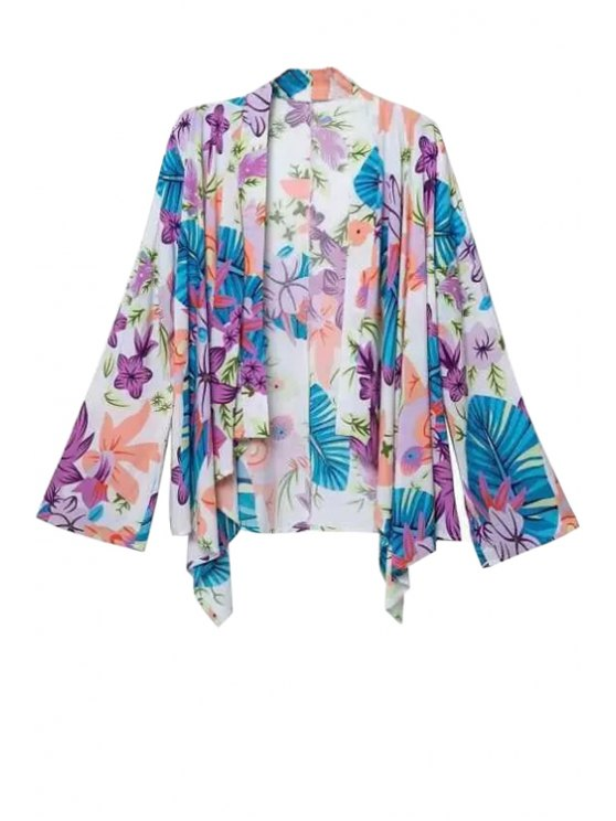 outfit Colorful Floral Print Long Sleeve Blouse - COLORMIX S