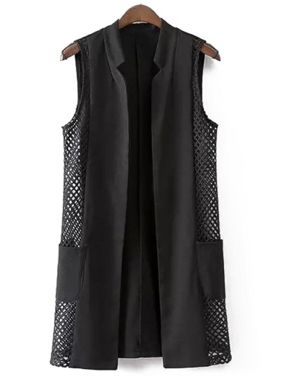online Hollow Out Stand Neck Waistcoat - BLACK L