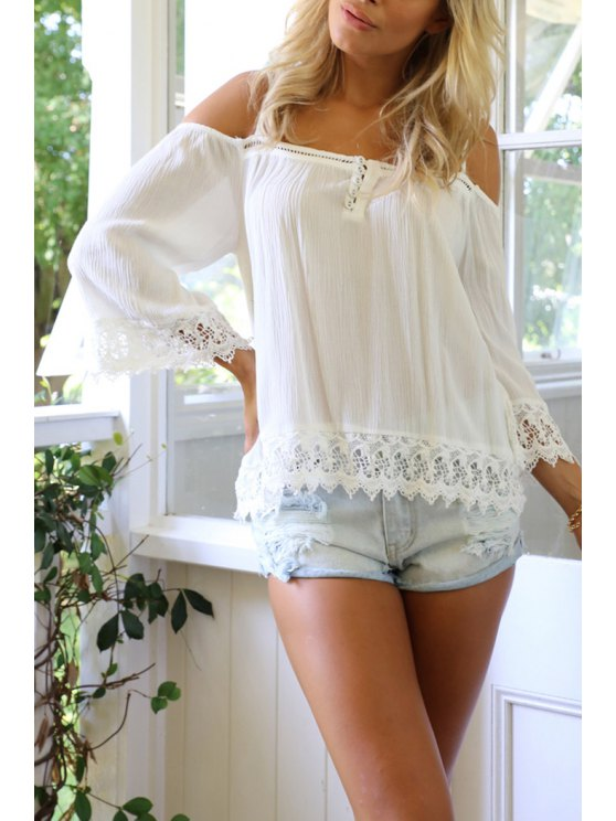 affordable Lace Spliced Wave Cut White Chiffon Blouse - WHITE XL