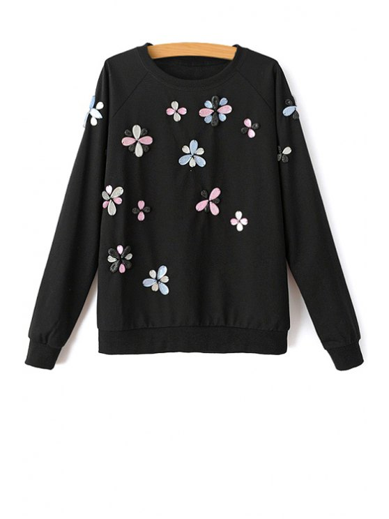 outfit Rhinestone Long Sleeve Sweatshirt - BLACK M