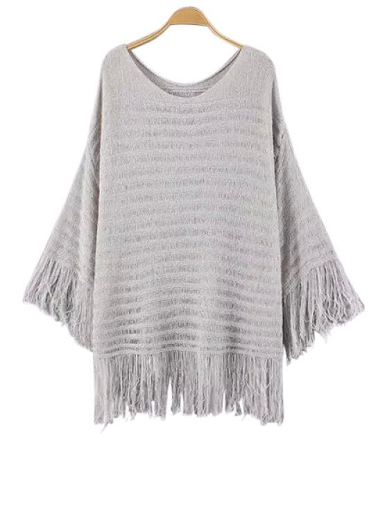 sale Fringe Solid Color Long Sleeve Sweater - GRAY ONE SIZE(FIT SIZE XS TO M)