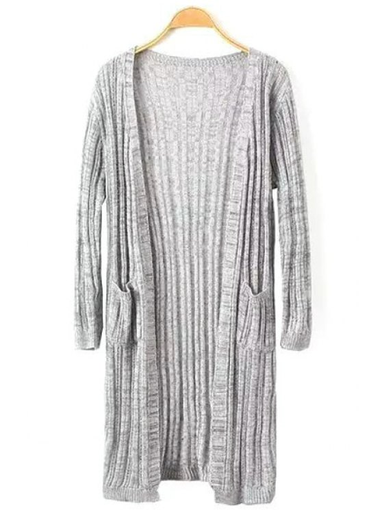 affordable Openwork Pockets Long Sleeve Cardigan - GRAY ONE SIZE(FIT SIZE XS TO M)