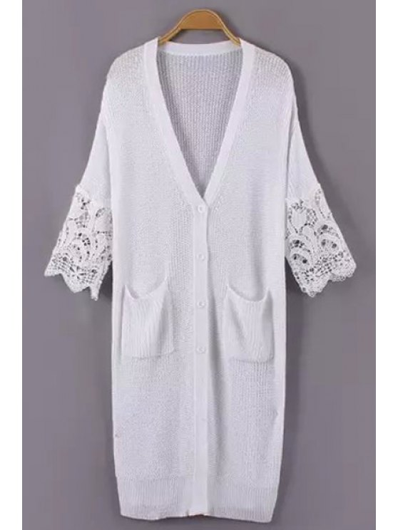 womens Lace Splicing Pocket Long Sleeve Cardigan - WHITE ONE SIZE(FIT SIZE XS TO M)
