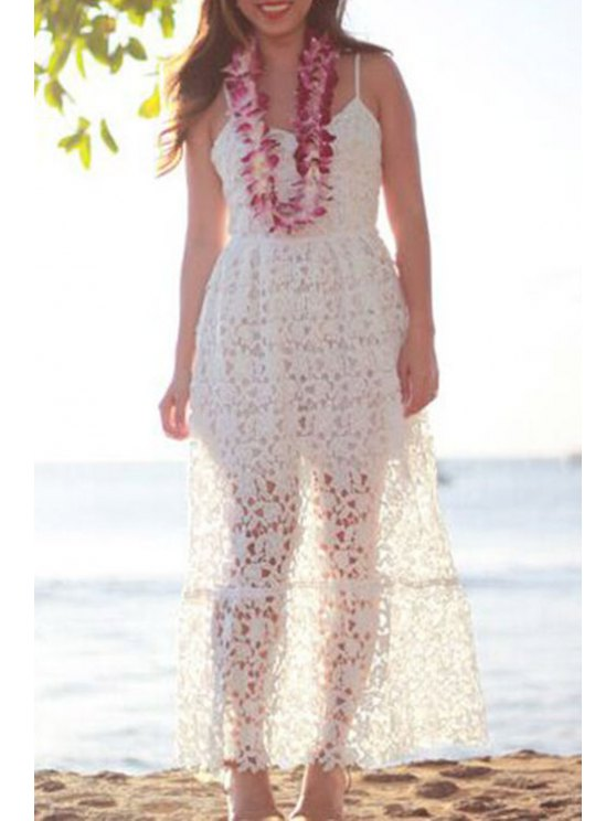 sale White Openwork Lace Hook Dress - WHITE S