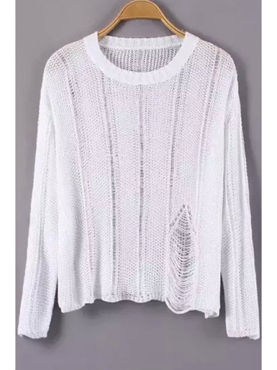 women Hole Solid Color Long Sleeve Sweater - WHITE ONE SIZE(FIT SIZE XS TO M)