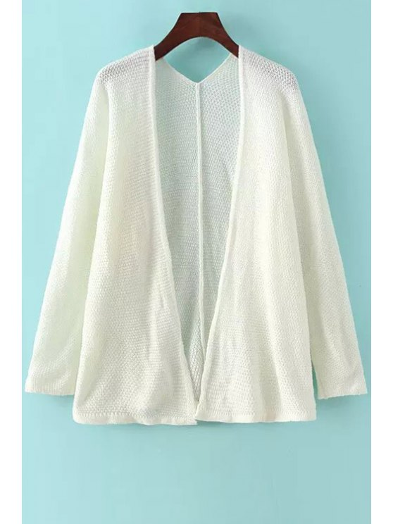 online Solid Color Long Sleeve Collarless Cardigan - WHITE ONE SIZE(FIT SIZE XS TO M)
