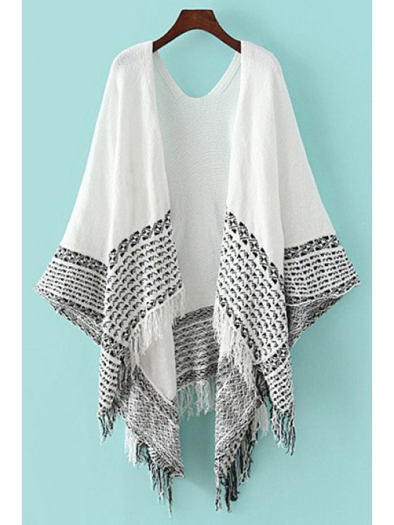 shop Collarless Color Block Fringe Splicing Cardigan - WHITE ONE SIZE(FIT SIZE XS TO M)