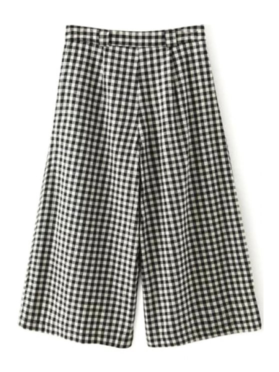 fashion Color Block Plaid Zipper Fly Pants - WHITE AND BLACK S