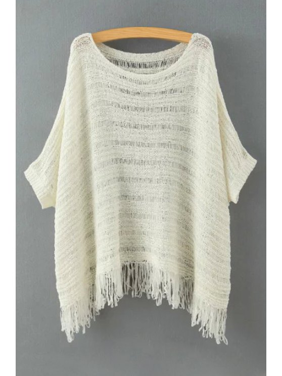 women's Openwork Solid Color Half Sleev Sweater - WHITE ONE SIZE(FIT SIZE XS TO M)