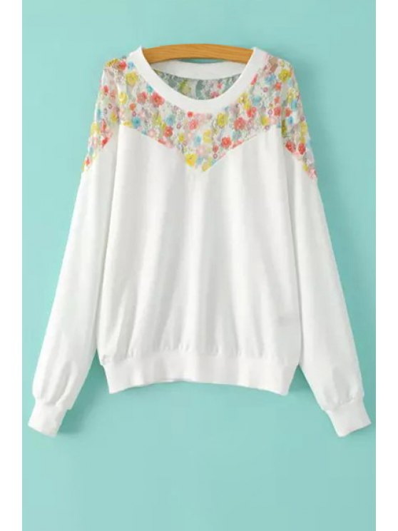 sale Colorful Floral Lace Splicing Long Sleeve Sweatshirt - WHITE S