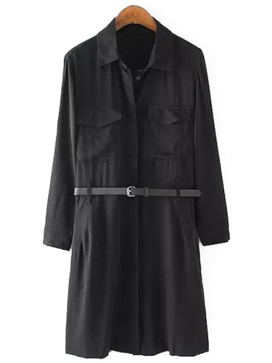 fancy Solid Color Pocket Belt Long Sleeve Dress - BLACK S