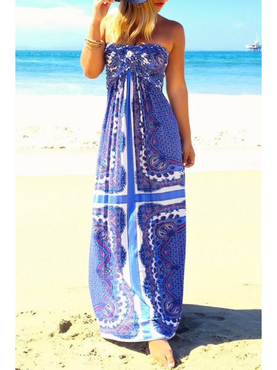 women's Strapless Floral Print Maxi Dress - BLUE S
